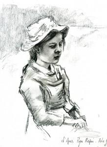 Portrait dessin pierre noire et graphite