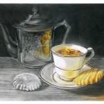 dessin, tasse, café, biscuits