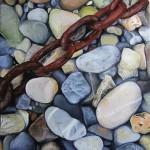 peinture à l'huile sur bois, galets
