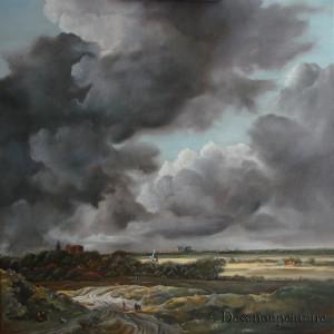 peinture à l'huile sur toile , Ruisdael, copie