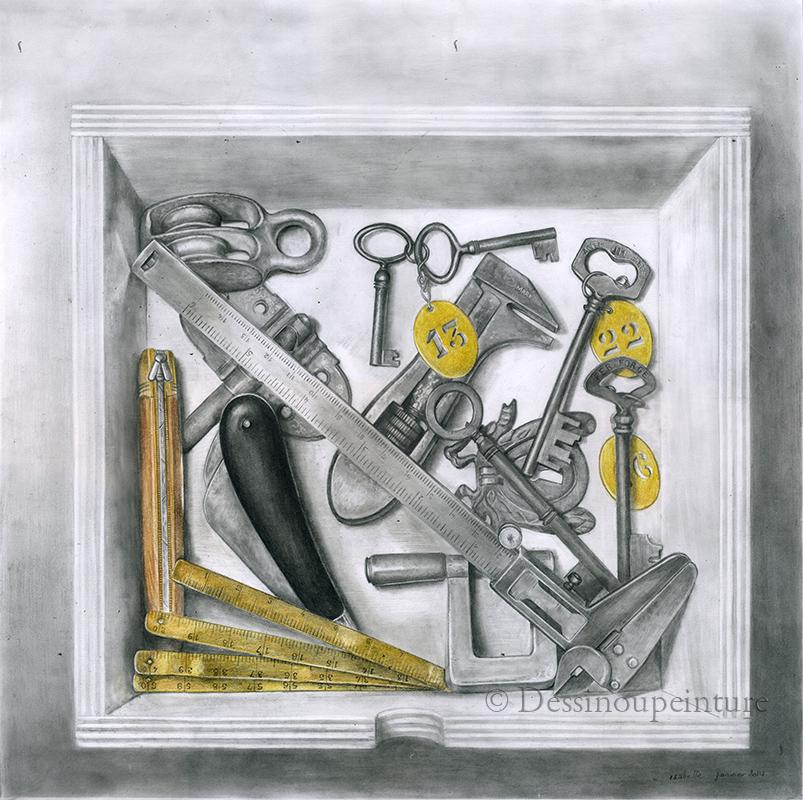 dessin d'une boite avec des clés et divers outils