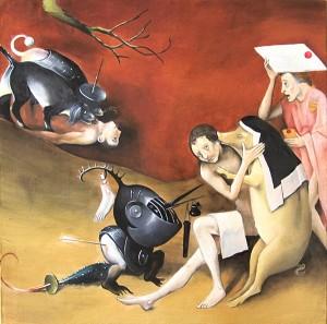 Jerome Bosch-le Jardin des délices- l'enfer, détail, copie, étude