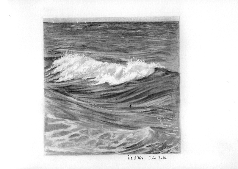 dessin de vague au graphite