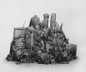 fusain et pierre noire sur papier, 48x57cm