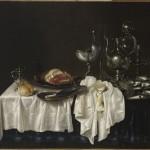 still life, ham, cup nautile, silver decanter