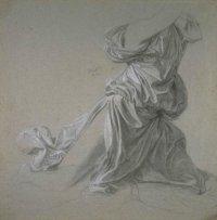 dessin, étude de draperie de Ingres