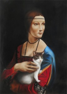 peinture, dame, chat