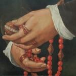 peinture , mains, chapelet, bagues