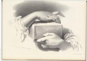 dessin d'étude, mains de femme tenant un objet