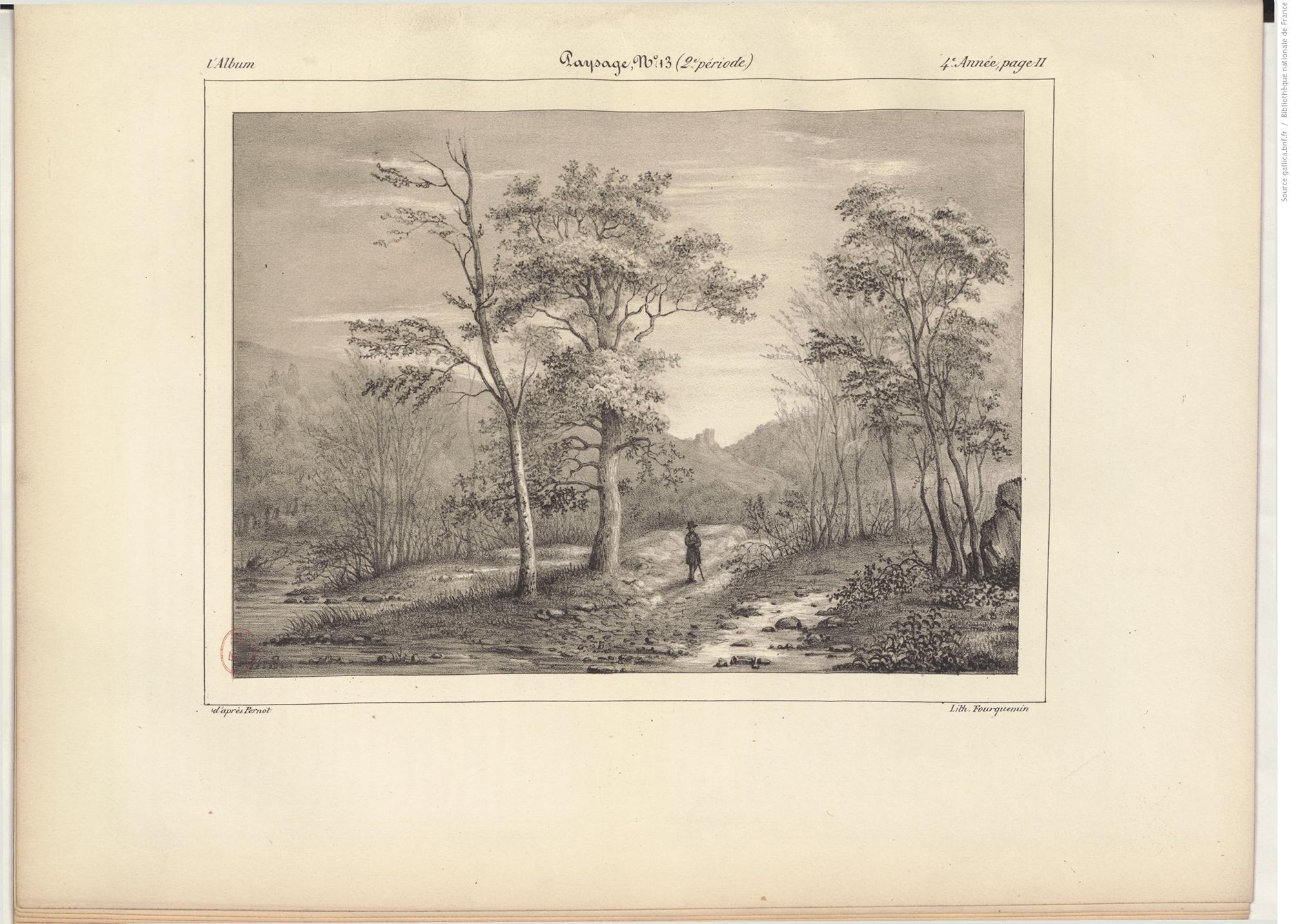 Gallica, Album, journal destiné aux artistes, arbre, paysage