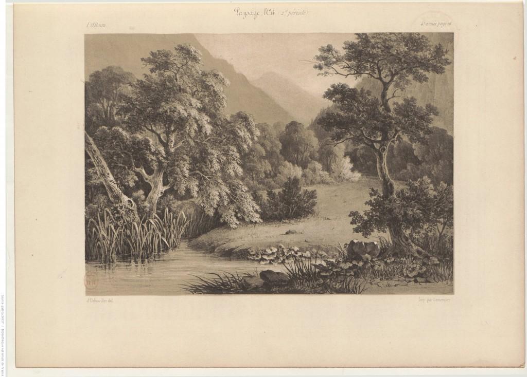 paysage, lavis,
