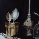 gobelet et cuillères, peinture à l'huile