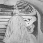 dessin, pointe d'étain sur gesso