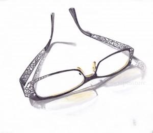 lunettes au graphite et crayons de couleur