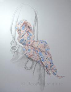 illustration foulard et sac à main