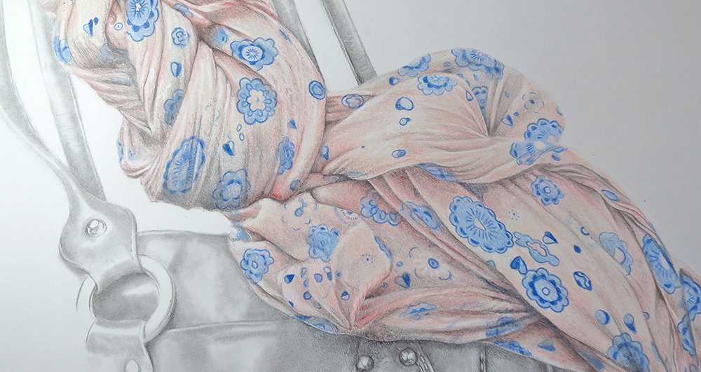 zoom sur le dessin du foulard