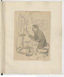 dessin d'un peintre au travail