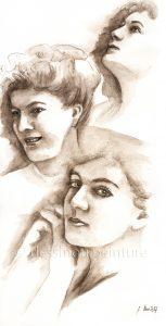 portrait aquarelle sépia