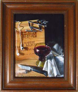 Still life, verre Roemer , cousteau Opinel à lame en acier damassé