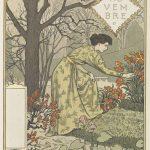 gravure allégorique de l'automne, femme, jardin