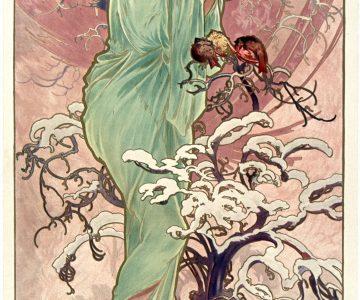 Hiver,Mucha, neige, femme habillée de vert