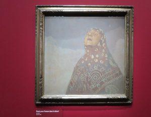 femme voilée peinte à l'huile par Mucha