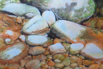 rochers, riviere, cailloux, dessin