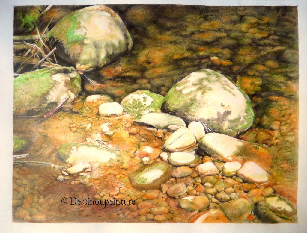 dessin de rivière, cailloux , crayons de couleur