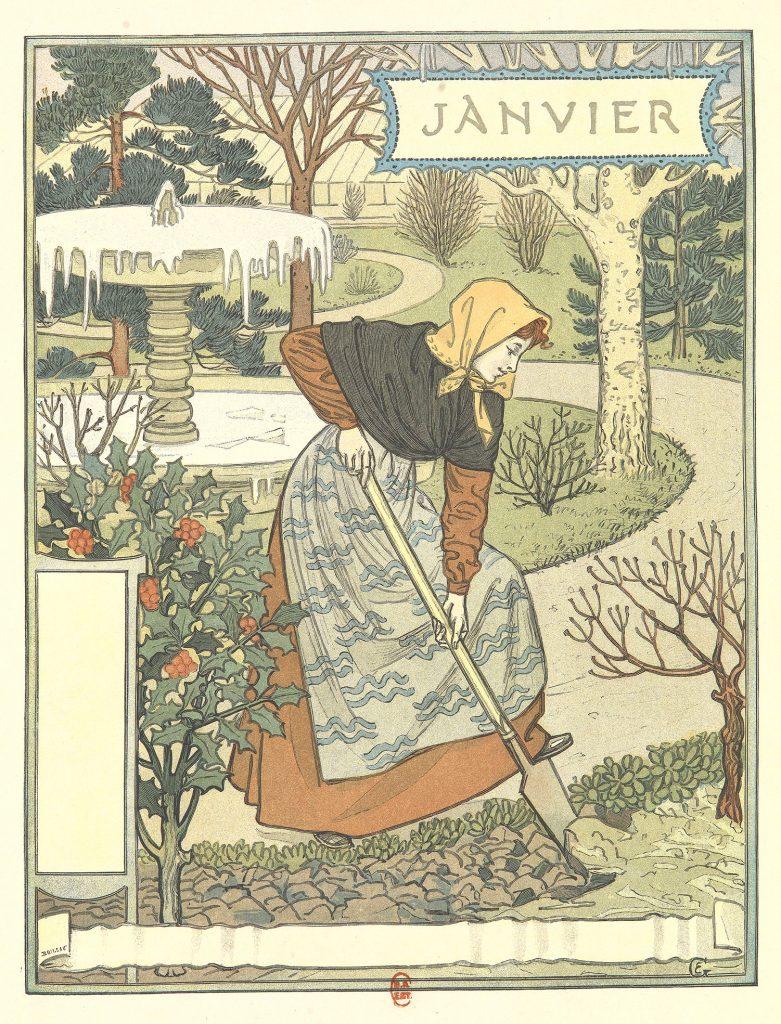 illustration , janvier, femme au jardin,