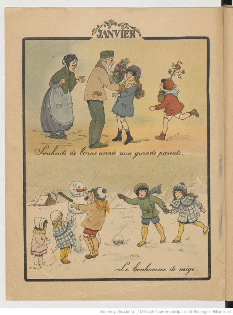 2 dessins, enfants jouant dans la neige et enfants et grands parents