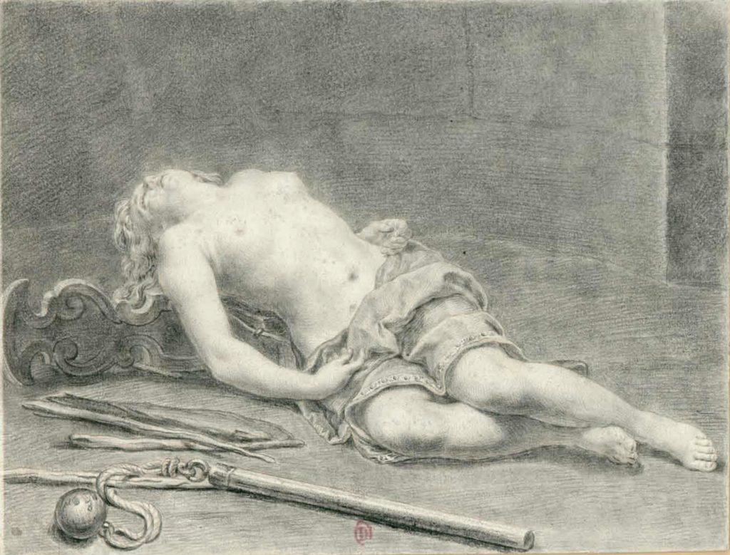 dessin d'une femme allongée en souffrance