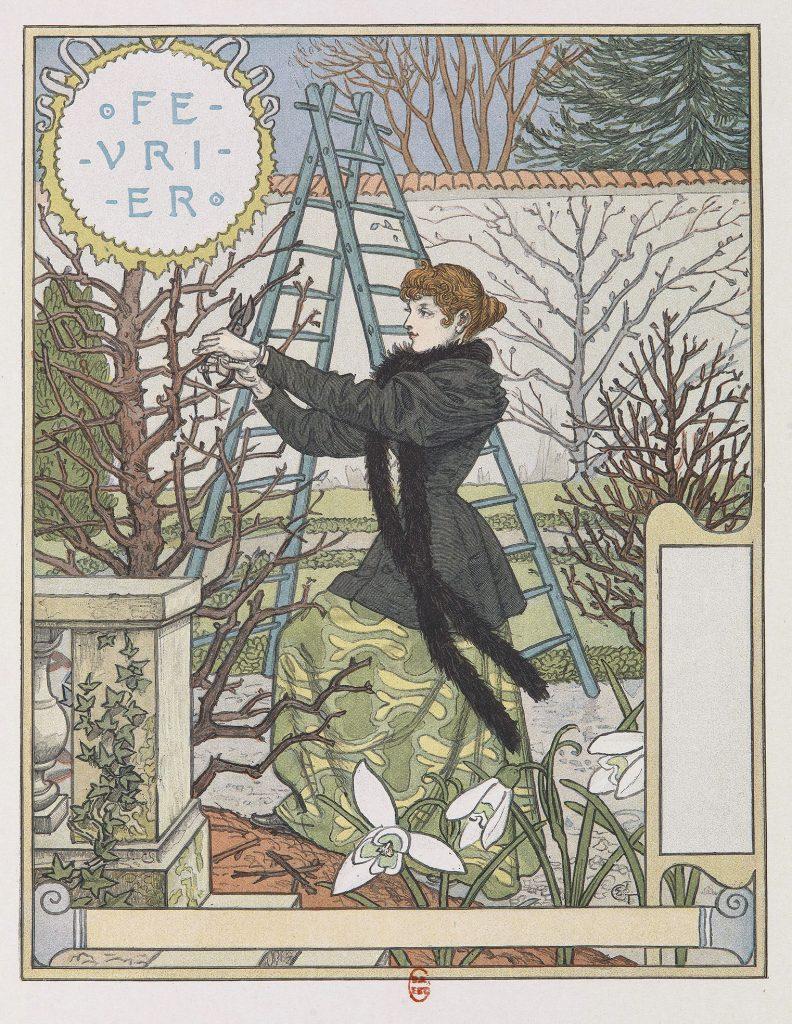février, femme, jardin