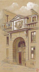 Grande porte n° 11 rue Servandoni , dessin de Chauvet 1892-Gallica