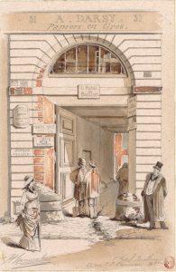A Darsy ,Papiers en gros : l' Hotel Bullion 51 rue J. J. Rousseau , dessin de Jules-Adolphe Chauvet 1880- Gallica