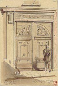 Caserne des pompiers rue J. J. Rousseau, dessin de JA Chauvet  1874- Gallica