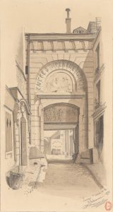 Passage Ste Croix de la Bretonnerie ,dessin de Chauvet 1878 -Gallica