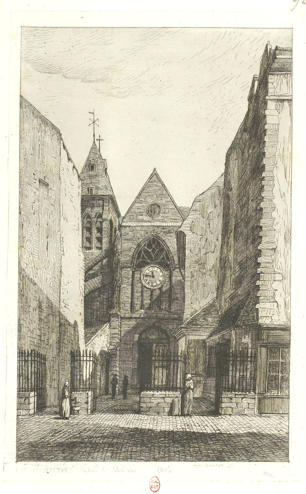 Rue Mouffetard : Eglise St Médard de MARTIAL 1860