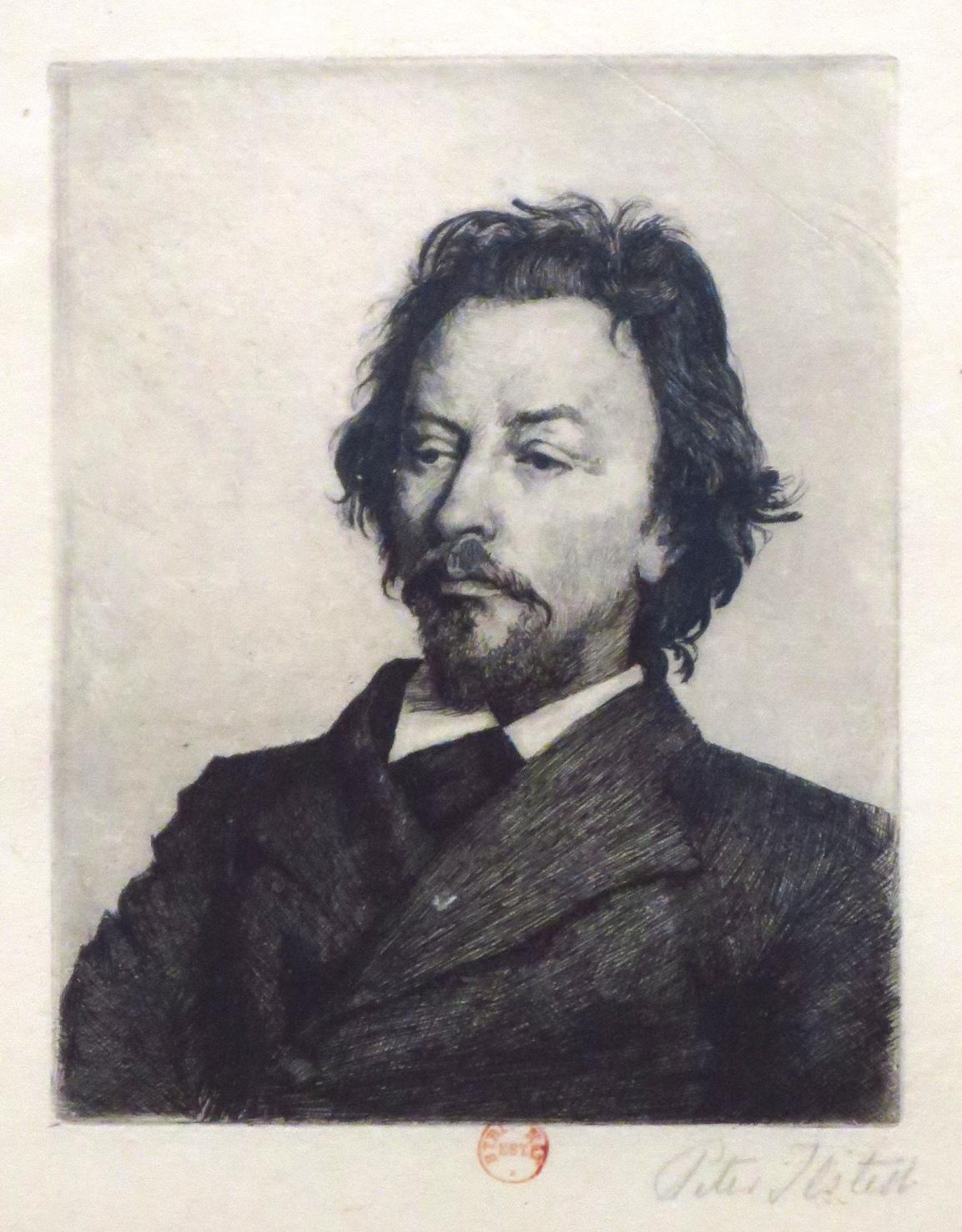 Eau forte de Peter Ilsted- Portrait de Vilhelm Hammershoi 1899 BNF