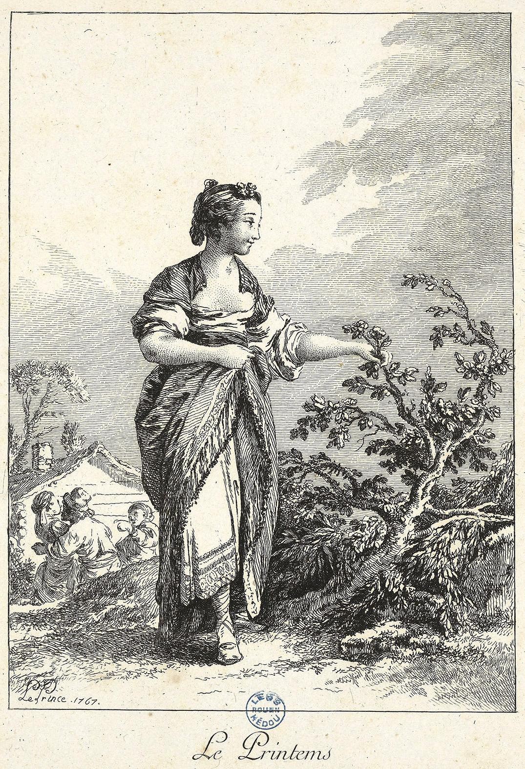 Le Printemps de  Le Prince  gravure de 1767