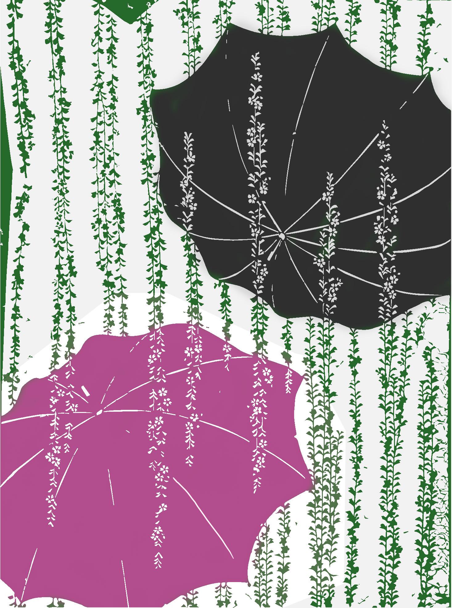 Parapluies et plantes fleuries retombantes (Collection Vever) - motif modifié