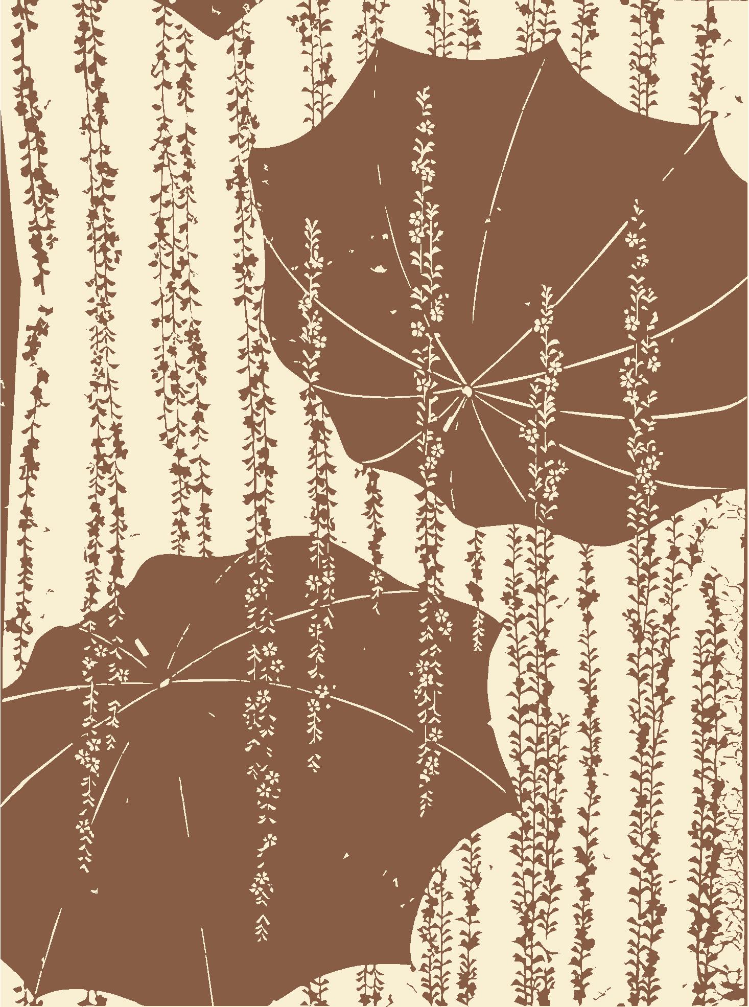 Motifs décoratifs tirés des pochoirs japonais par Th. Lambert - Parapluies et plantes fleuries retombantes (Collection Vever)