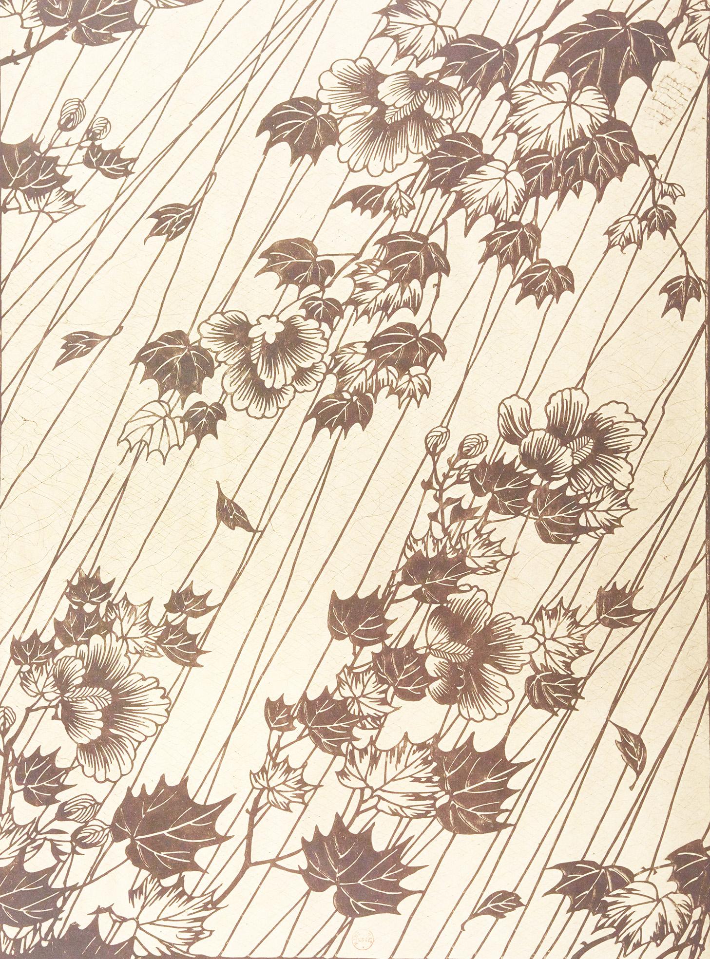 Motifs décoratifs tirés des pochoirs japonais de par Th. Lambert -Branches fleuries sous la pluie (Collection Vever)