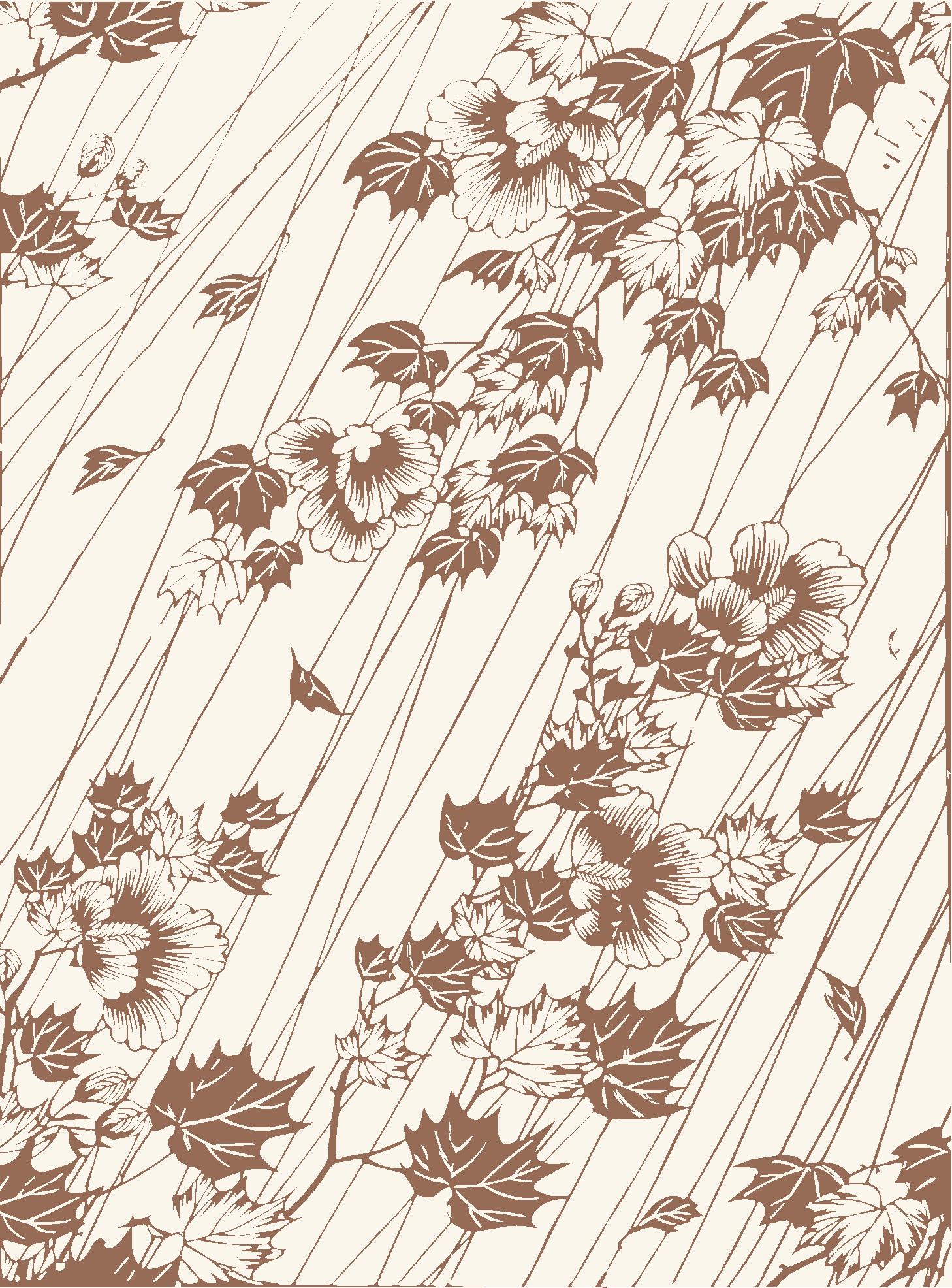 Branches fleuries sous la pluie (Collection Vever) motif modifié
