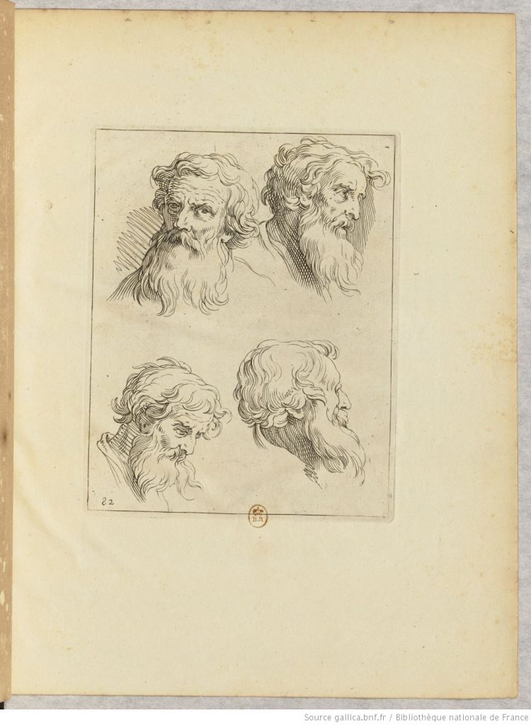 dessin de portraits d'hommes, estampe de 1600