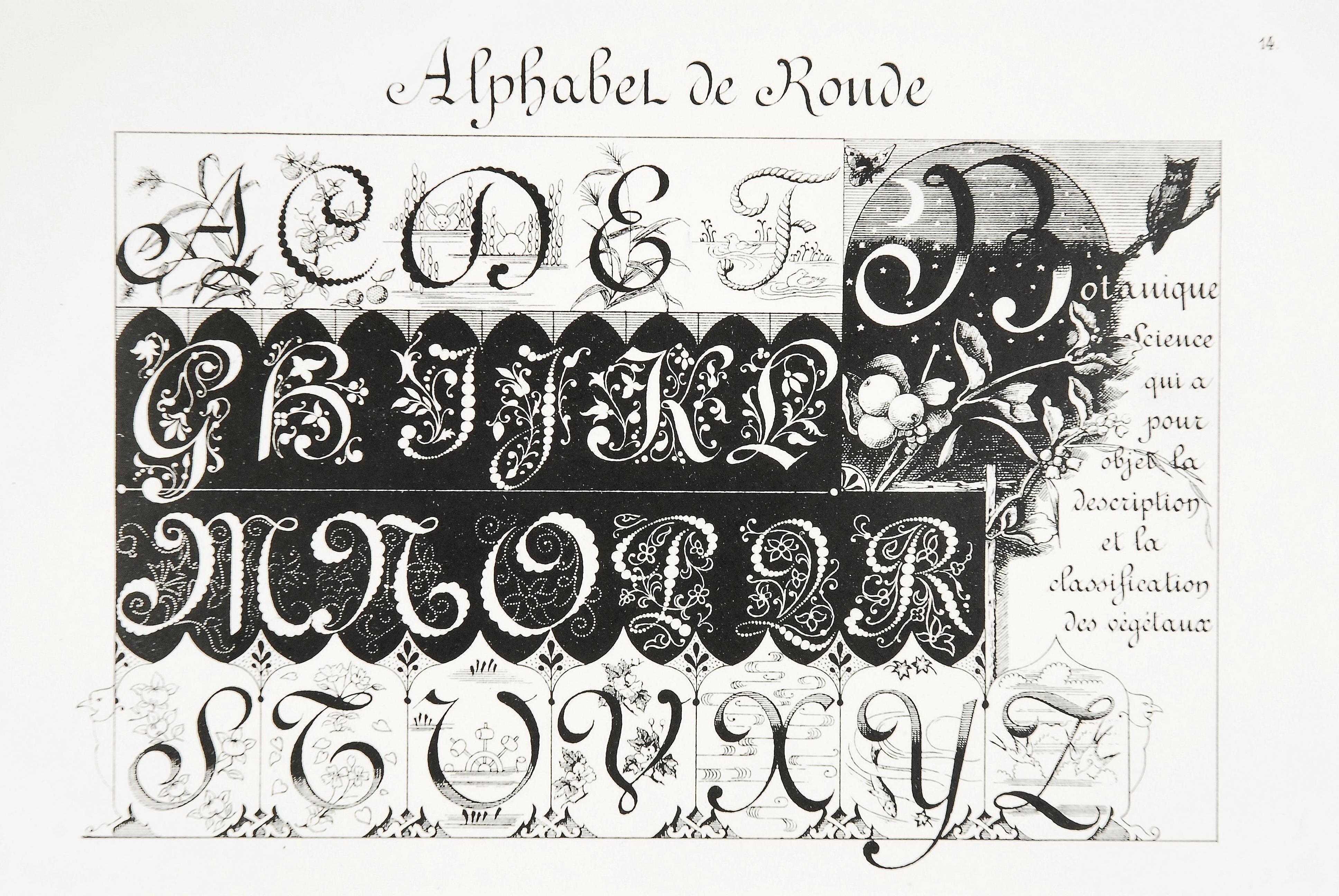 Titre(s)Alphabets de style : Moyen-Age, Renaissance : d'après des documents authentiques des XIe, XIIIe, XIVe, XVe et XVIème siècles / composées par Ernest Guillot ; lithographiés par Henri Sescheboeuf  Bibliotheque forney