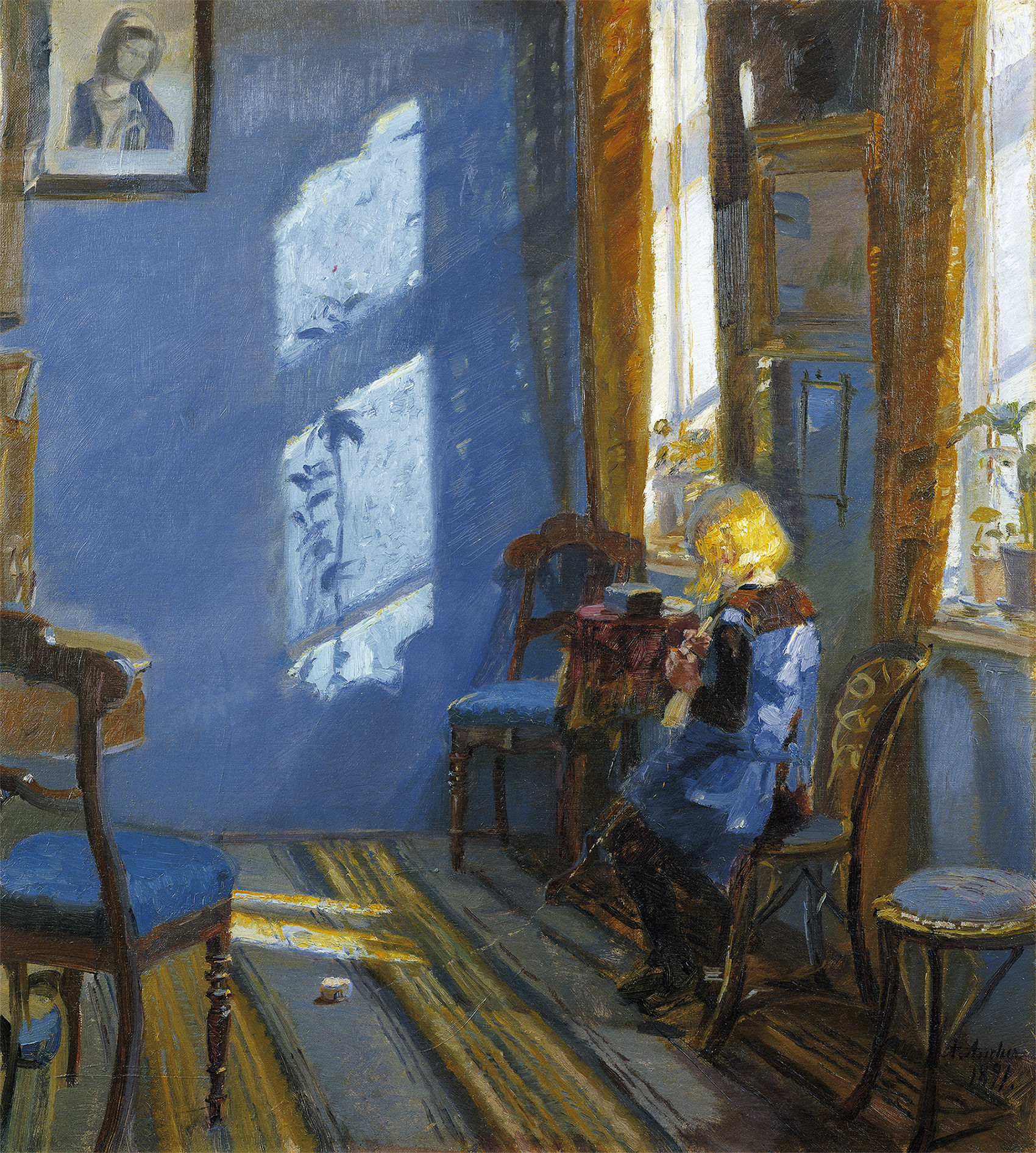 Sunlight in the blue room d'Anna Ancher - Musee de Skagen