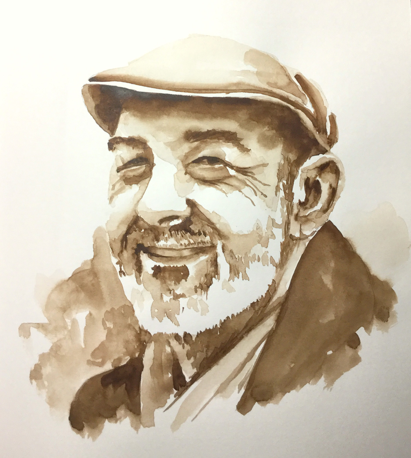 homme avec une casquette, croquis aquarelle sépia