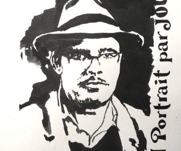 portrait d'homme avec un chapeau à l'encre noire