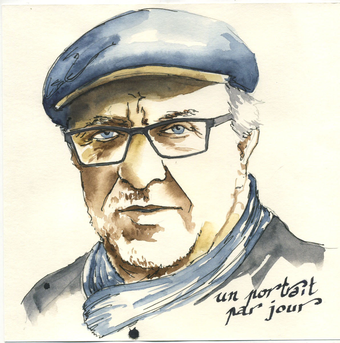 portrait à l'aquarelle d'un homme avec une casquette
