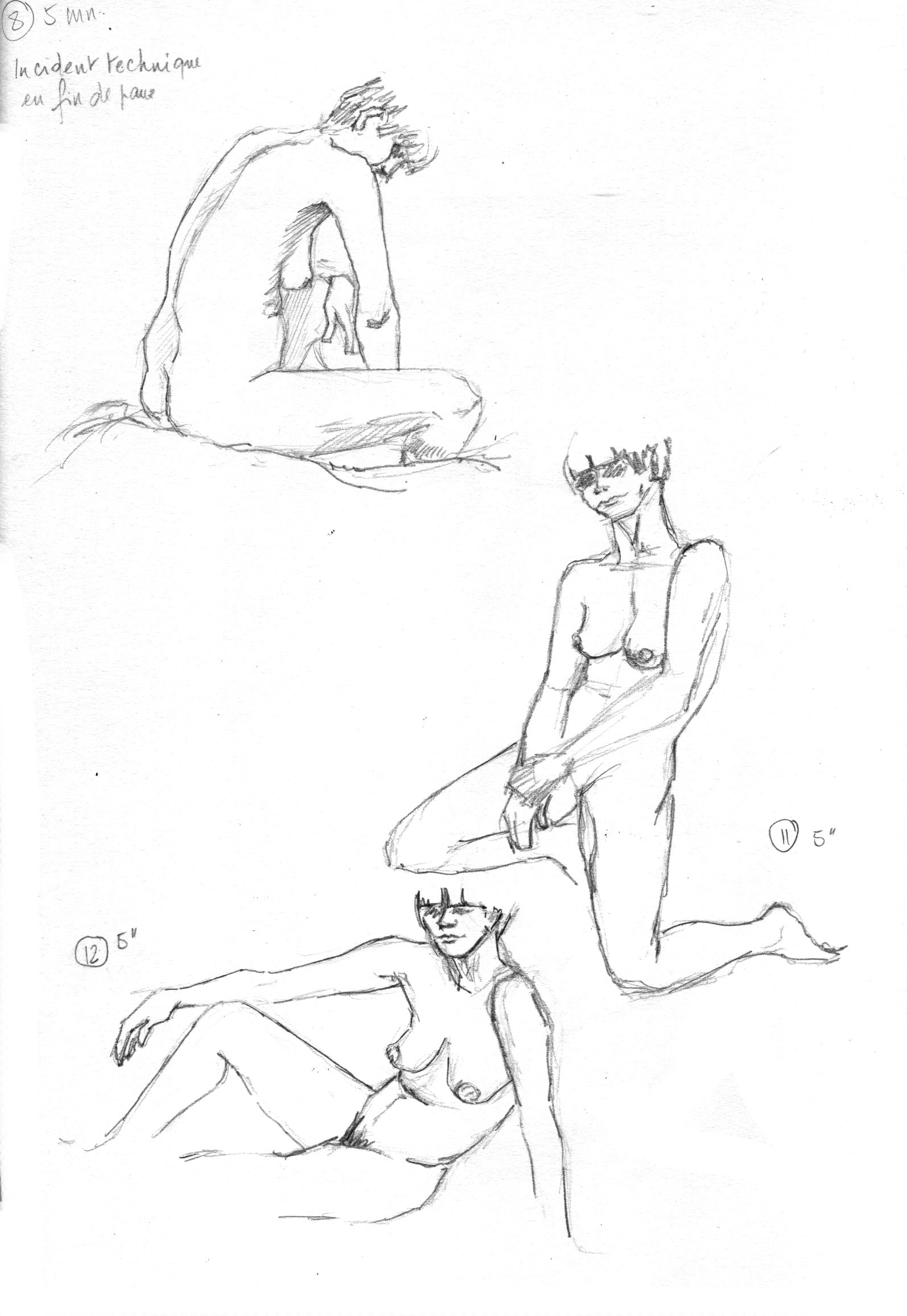 Monika -Grande Chaumière, Poses de 5 minutes croquis au graphite